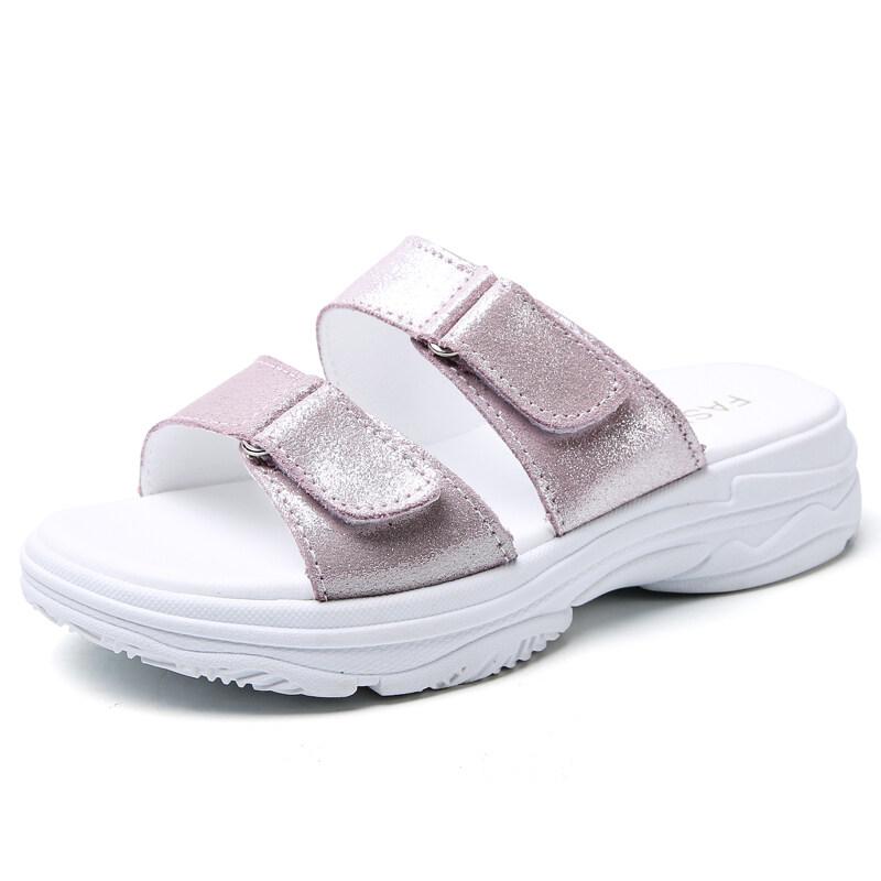 女鞋凉拖鞋女式休闲鞋外穿双排扣厚底增高真皮韩版