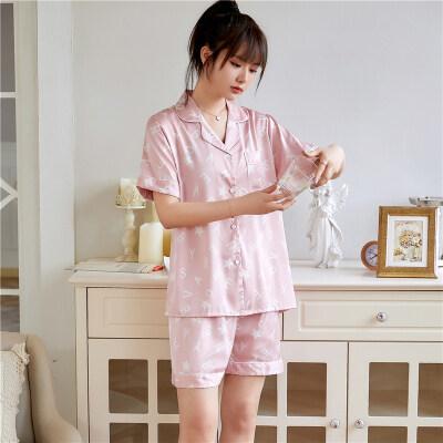 冰丝睡衣女夏季短袖韩版可爱卡通两件套装丝绸可外穿家居服女
