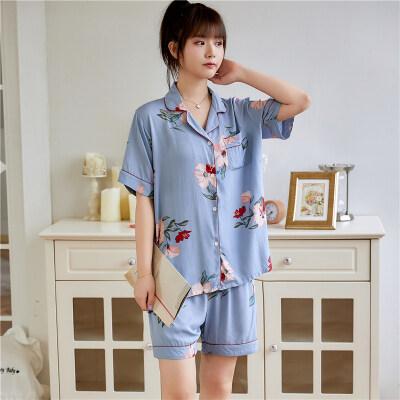 短袖短裤睡衣女夏季薄款棉绸套装可爱甜美人造棉绵绸可外穿家居服