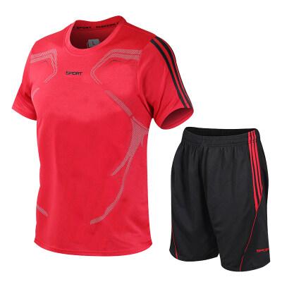 运动套装男夏季短袖T恤男士速干衣跑步宽松休闲运动服大码男装