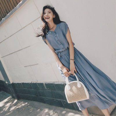 女连衣裙夏长款过膝2019新款韩版学生收腰气质修身显瘦超仙裙