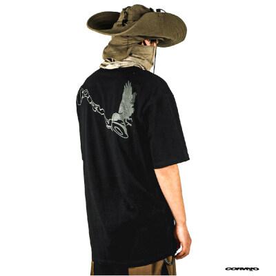 原创设计cornao废土机能潮牌廓形黑色三腿乌鸦印花黑大码宽