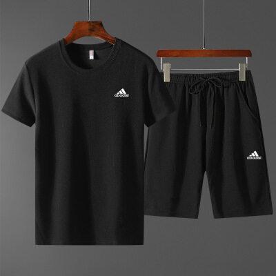 运动套装男2020夏季新款男士韩版修身圆领印花短袖百搭休闲两件套