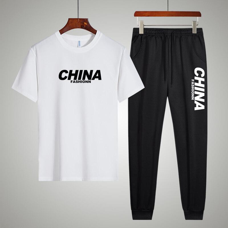 TZ291款 男士夏季新款短袖长裤运动休闲套装韩版潮流时尚百搭
