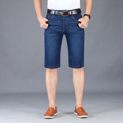 夏季薄款男士牛仔短裤男直筒宽松中裤7七分牛仔裤5五分裤弹力马