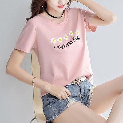 代发(95棉 5氨纶)14个颜色 纯棉宽松黑白色小雏菊花短袖