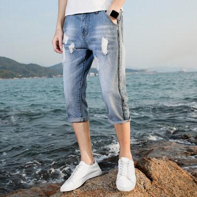 时尚破洞短裤7分裤夏季青年牛仔短裤