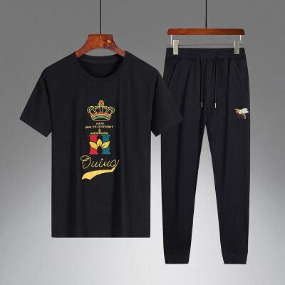 欧洲站夏季优质绣花套装男士青年休闲长裤运动服欧美潮流男装