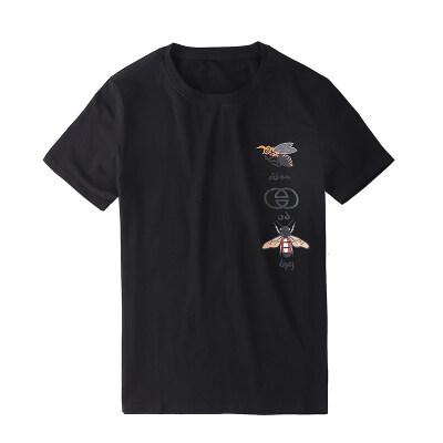 潮流花图案男士短袖T恤2020夏季透气字母印花修身圆领