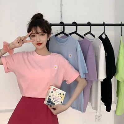 棉短袖t恤女圆领小雏菊刺绣2020夏季新款女装宽松韩版百搭上