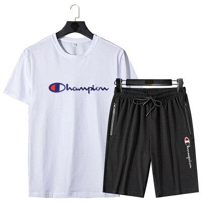 2020新款纯棉夏季短袖短裤休闲运动套装可印富贵鸟套装冠军套