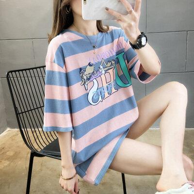嘉健现货实拍2020夏季大码中长款纯棉卡通条纹短袖T恤