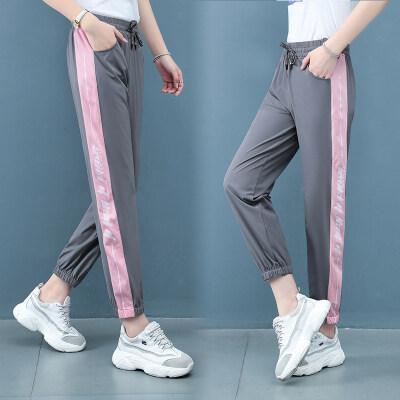 现货代发运动裤女2020春夏新款宽松显瘦九分裤百搭小个子女士