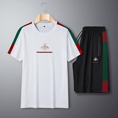 2020夏季新款蜜蜂刺绣三条杠套装短裤五分裤拼色T恤套装
