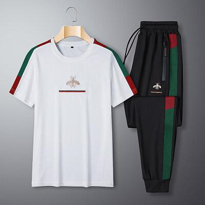 2020夏季新款蜜蜂刺绣时尚三条杠长裤套T恤装拼接套装