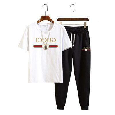 2020夏季新品印花英文套装休闲时尚百搭T恤套装