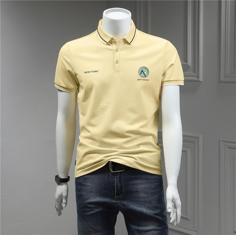 70%棉 27%聚酯纤维 3%氨纶2020夏季新款翻领短袖Polo衫韩版修身时尚印花短袖T恤男