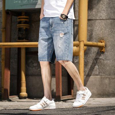 破洞牛仔短裤男宽松潮牌浅色直筒五分裤大码潮流5分中裤夏季薄款