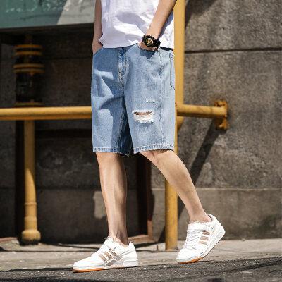 夏季破洞短裤男宽松潮牌多口袋直筒五分牛仔ins潮流5分中裤