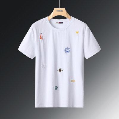2020夏季休闲时尚潮流刺绣字母虎头图案T恤