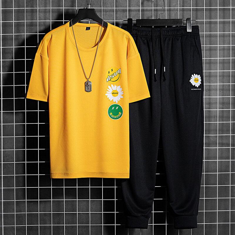 T-20652020夏季新款男士短袖t恤潮流青少年一套搭配帅气休闲套装