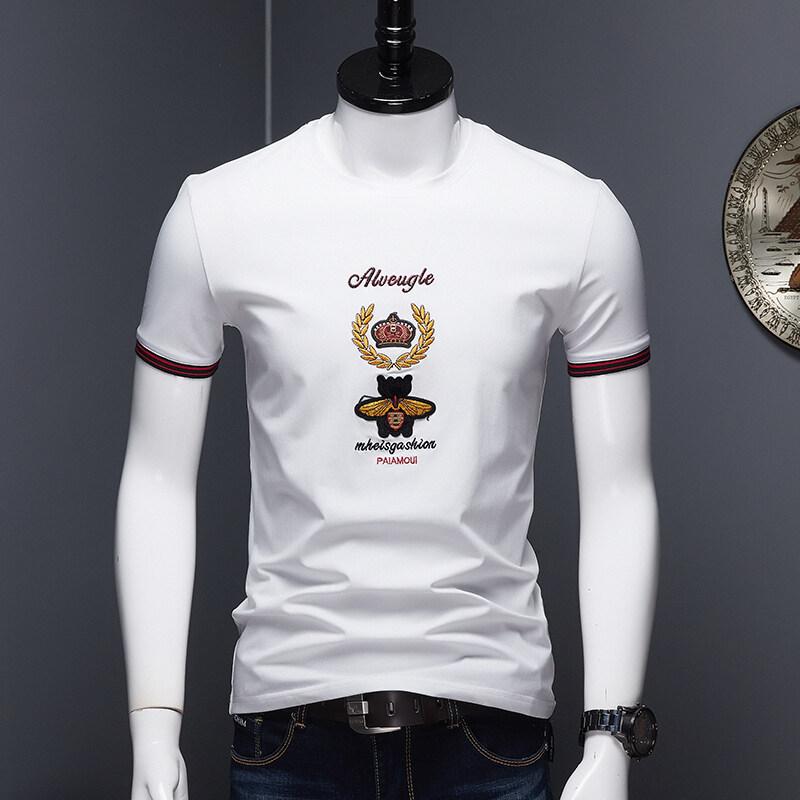 JQ2066欧洲站2020夏季男士圆领冰丝高端绣花T恤韩版修身时尚短袖男