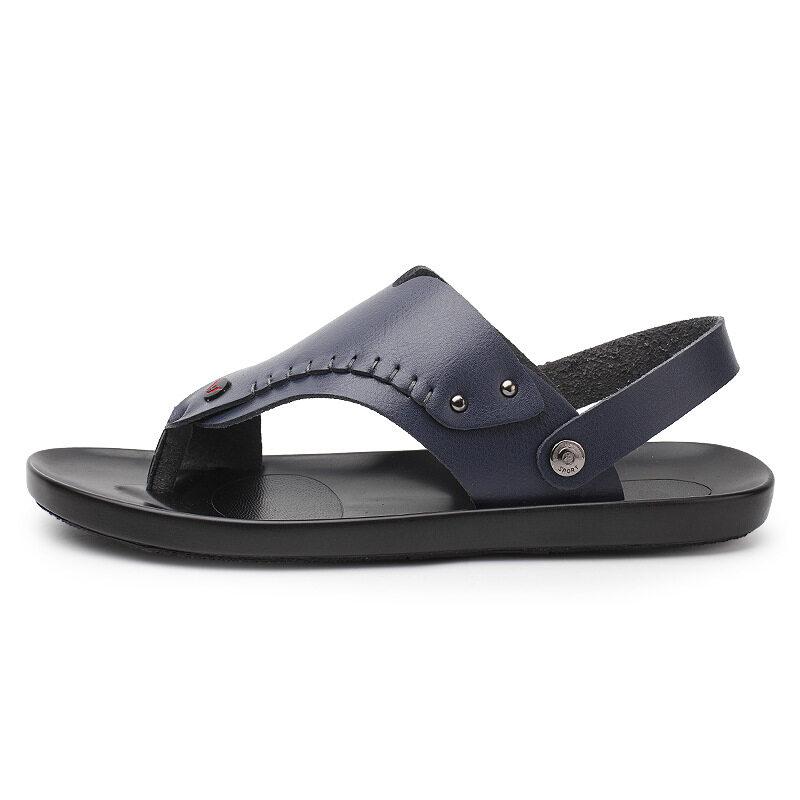 5801厂家直销夏季拖鞋男士皮凉鞋室外人字拖个性沙滩夏天软底防滑凉拖