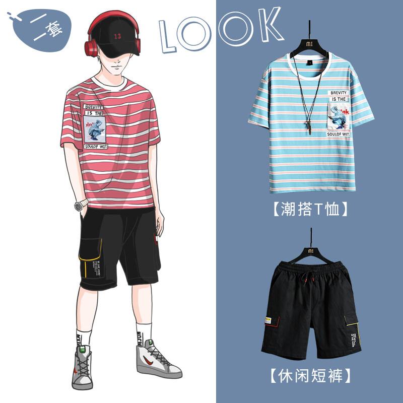 MT2035TZ2020新款夏季休闲时尚套装2020新款男韩版短袖t恤宽松一套潮搭配
