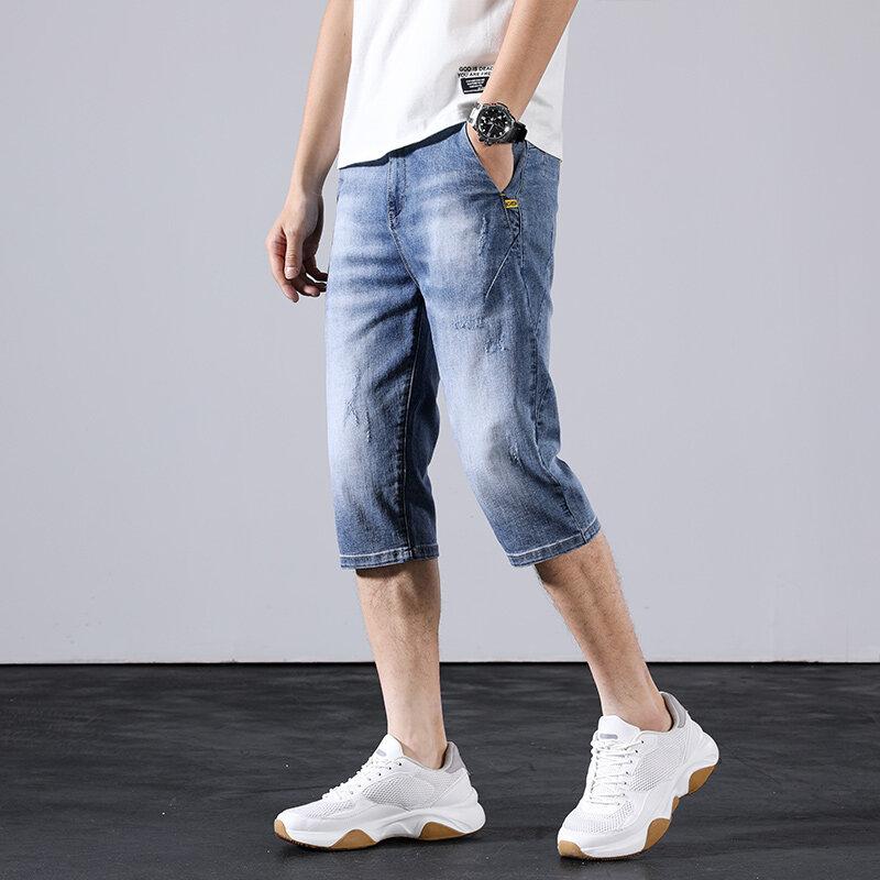 D805夏季浅色破洞牛仔短裤男潮牌五分韩版弹力7分中裤薄款学生马裤子