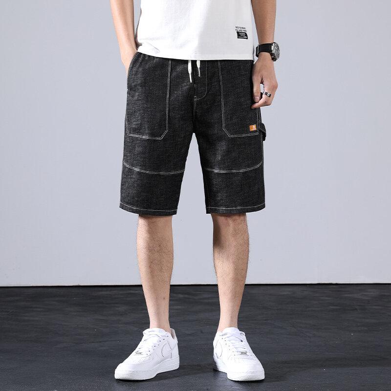 D806夏季浅色破洞牛仔短裤男潮牌五分韩版弹力5分中裤薄款学生马裤子