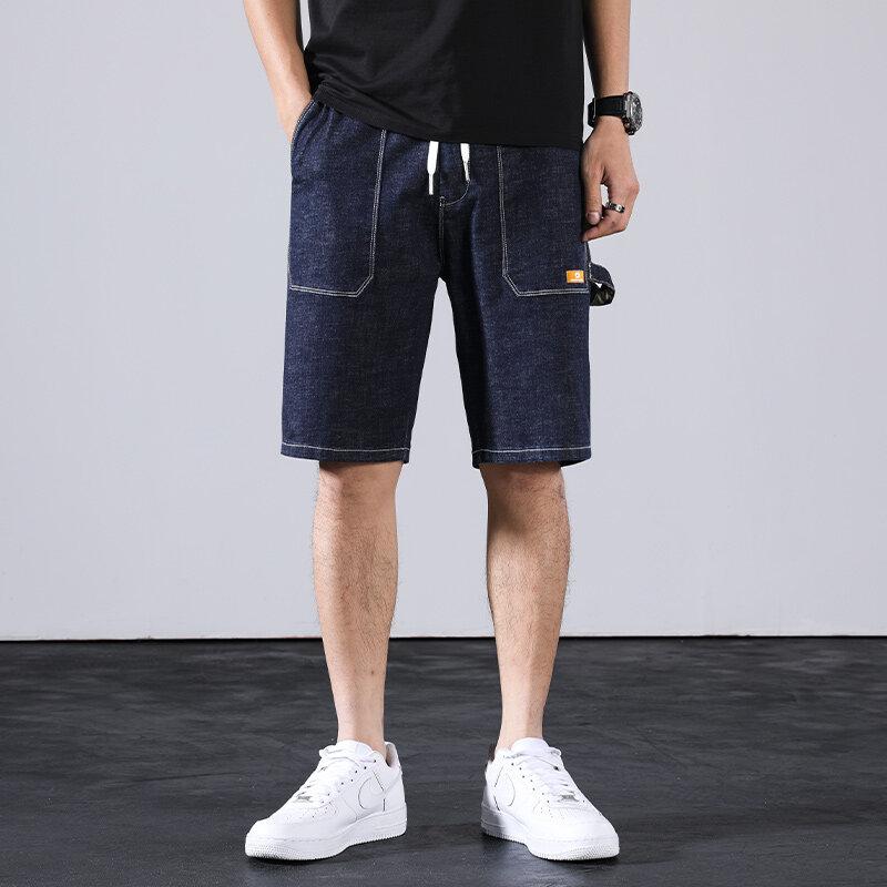 D807夏季浅色破洞牛仔短裤男潮牌五分韩版弹力5分中裤薄款学生马裤子