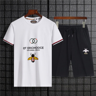 2020年夏季新款印花二件套套装休闲时尚松紧袖口短袖潮流T恤