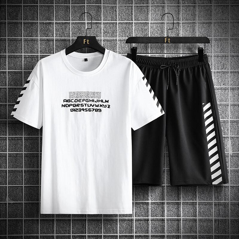 2016C夏季2020短袖t恤套装男新款宽松休闲潮牌潮流一套帅气搭配运