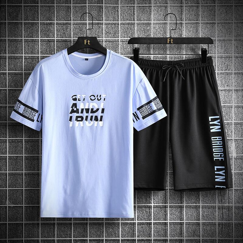 2020C夏季运动服男士卫衣套装潮牌2020休闲搭配短袖工装裤帅气两件
