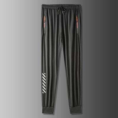 冰丝休闲裤子男士超薄款2020夏季新款宽松直筒松紧腰抽绳空调