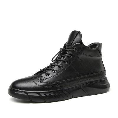 男鞋秋冬款高帮户外休闲板鞋加绒保暖防水雪地靴耐磨防滑皮靴