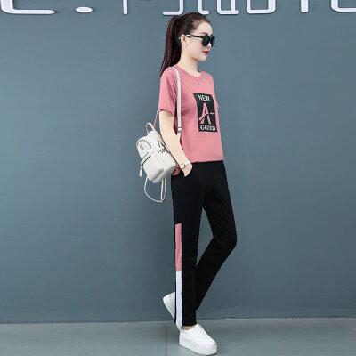 现货代发夏季运动套装女装2020新款韩版大码胖妹妹可爱显瘦棉