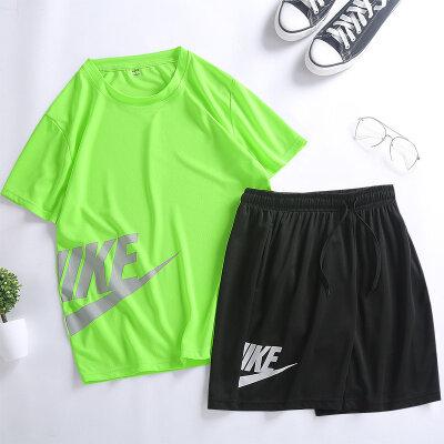 运动宽松套装男夏季男士休闲套装速干T桖大码短袖五分裤健身跑步