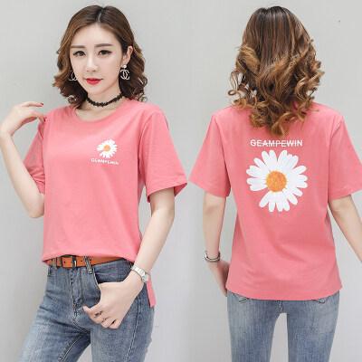 现货代发纯棉2020年夏季新款T恤印花字母显瘦短袖夏季