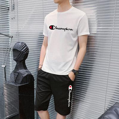休闲裤运动套装短裤2020新款短袖T恤蚂蚁皱两件A909