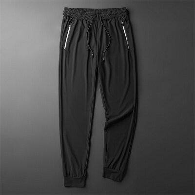 夏季冰丝休闲裤男士超薄薄款弹力运动男裤空调潮流修身小脚长裤子
