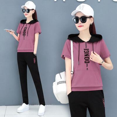 现货代发大码女装跑步运动服夏装2020新款休闲宽松套装女连帽