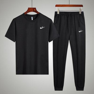 男士夏季休闲短袖长裤套装韩版修身精梳棉半截袖T恤长裤两件套装