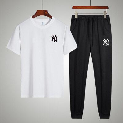 NY情侣男士短袖半截袖T恤长裤两件套夏季薄款修身学生休闲套装潮
