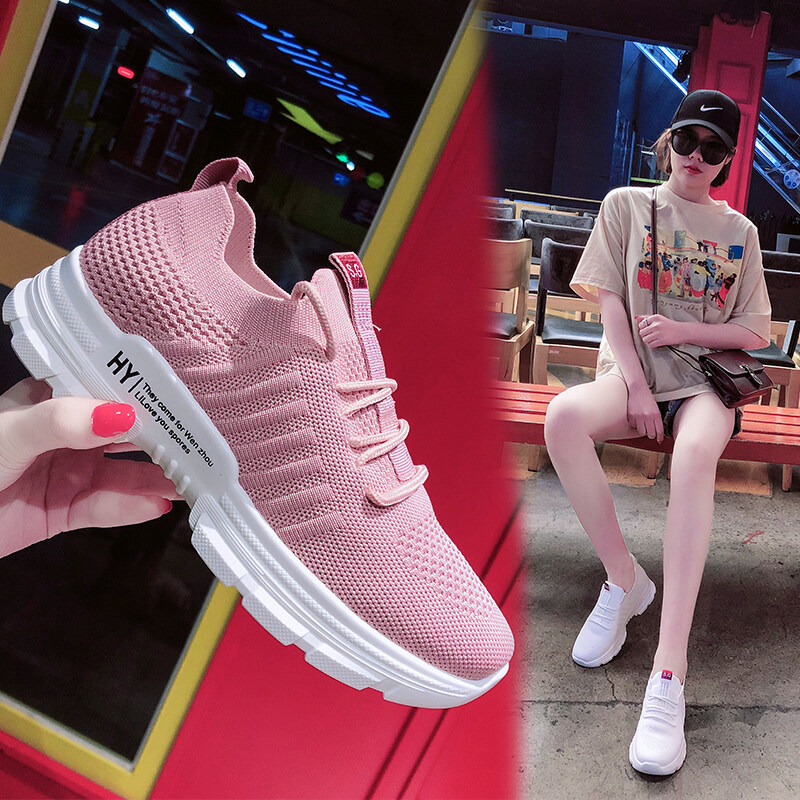 C03飞织镂空网面透气运动鞋女夏季2020新款韩版百搭学生休闲跑步