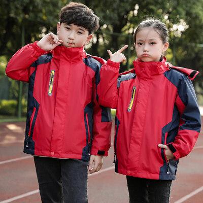户外儿童冲锋衣三合一男童两件套女童加绒加厚套装外套秋冬