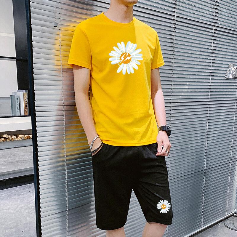 2020新款小雏菊蚂蚁皱菊花运动套装休闲裤短袖t恤短裤两件套