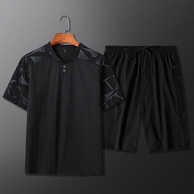 JQ0913短袖t恤男宽松大码胖子T桖冰丝速干半袖体恤夏天运动套装男两件