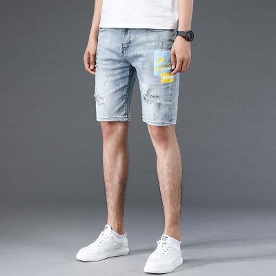 破洞牛仔裤男潮牌修身浅色五分裤韩版潮流夏季百搭青少年牛仔短裤