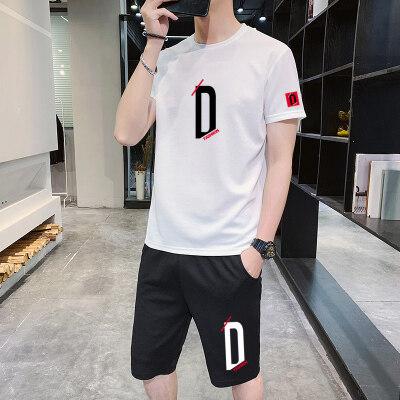 套装蚂蚁皱新款短袖套装男学生大码宽松T恤短裤两件运动套